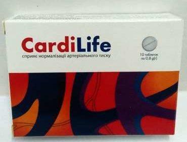Внешний вид коробки препарата Cardilife крупным планом.